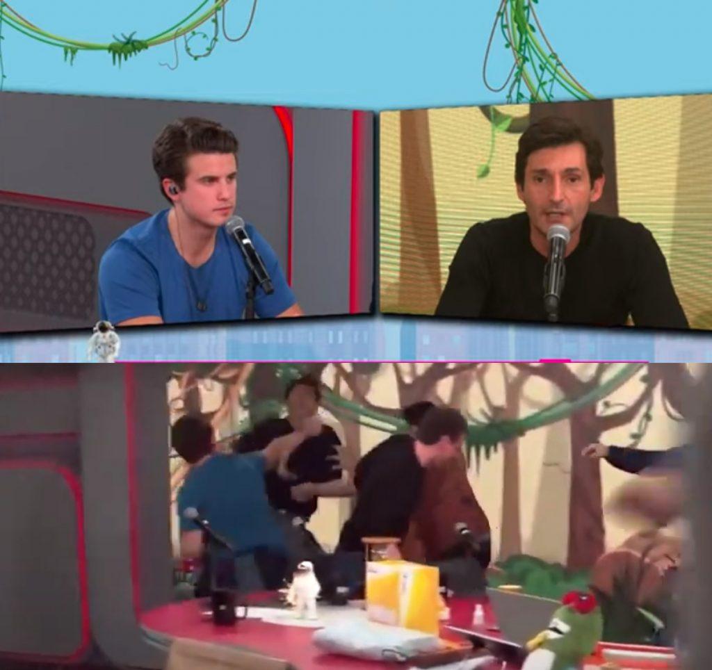 Briga entre o apresentador André Marinho e o comentarista Tomé Abduch no Pânico