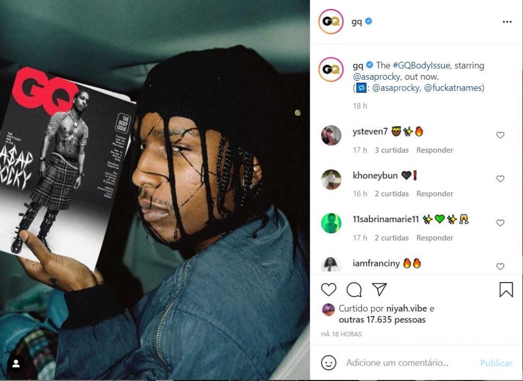 """Revista GQ posta foto de Asap Rocky, que foi considerado o """"homem mais bonito vivo no mundo""""."""