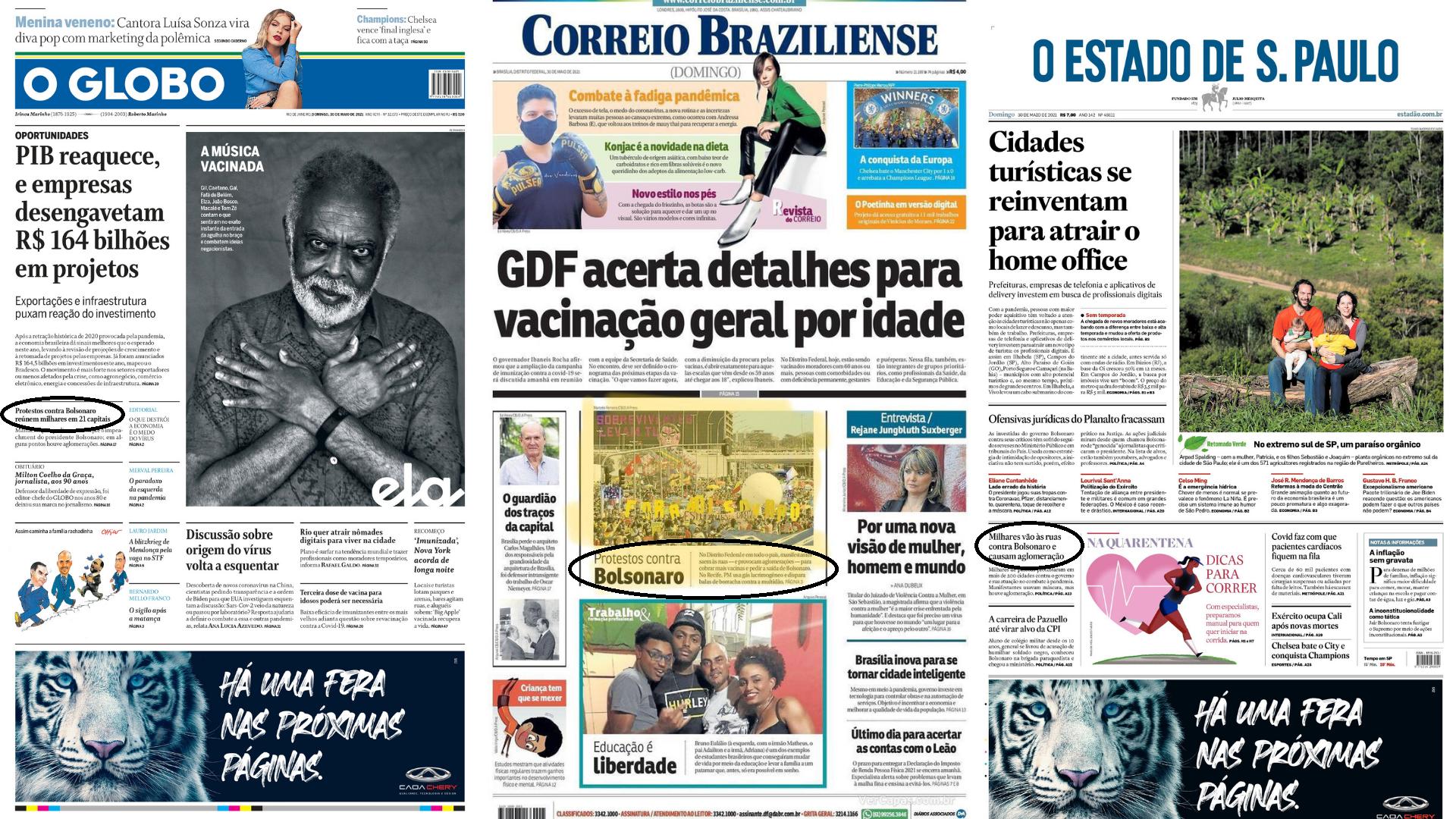 Jornais ignoram manifestações contra Bolsonaro