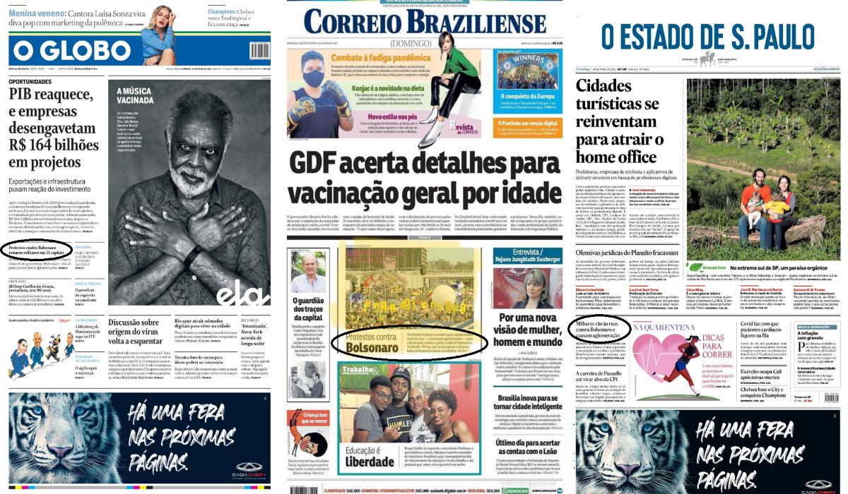 Jornais ignoram manifestações contra Bolsonaro e web expõe