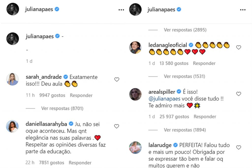 Juliana Paes recebe apoio depois de seu discurso político.