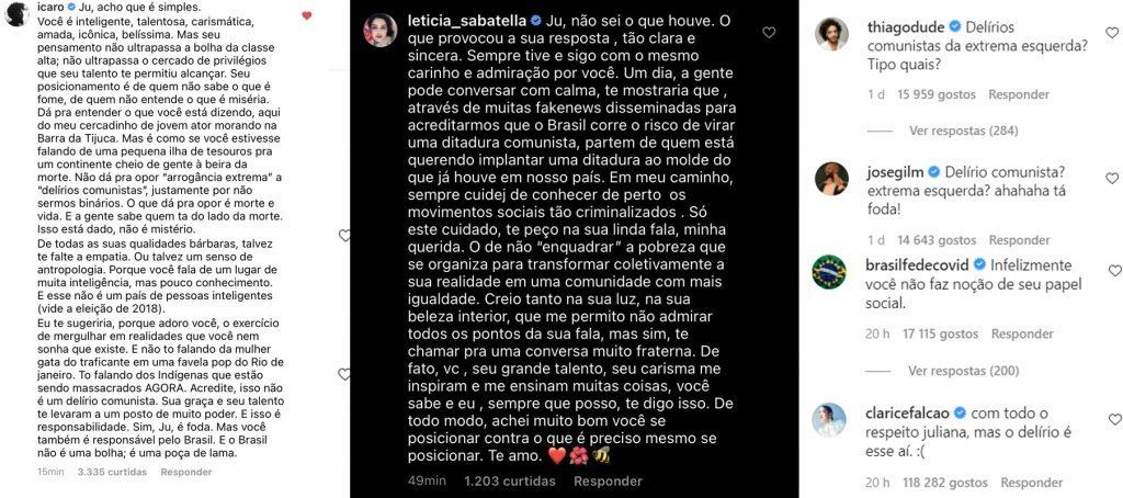 Pessoas vão contra a fala de Juliana Paes na internet e causa polarização de opiniões.