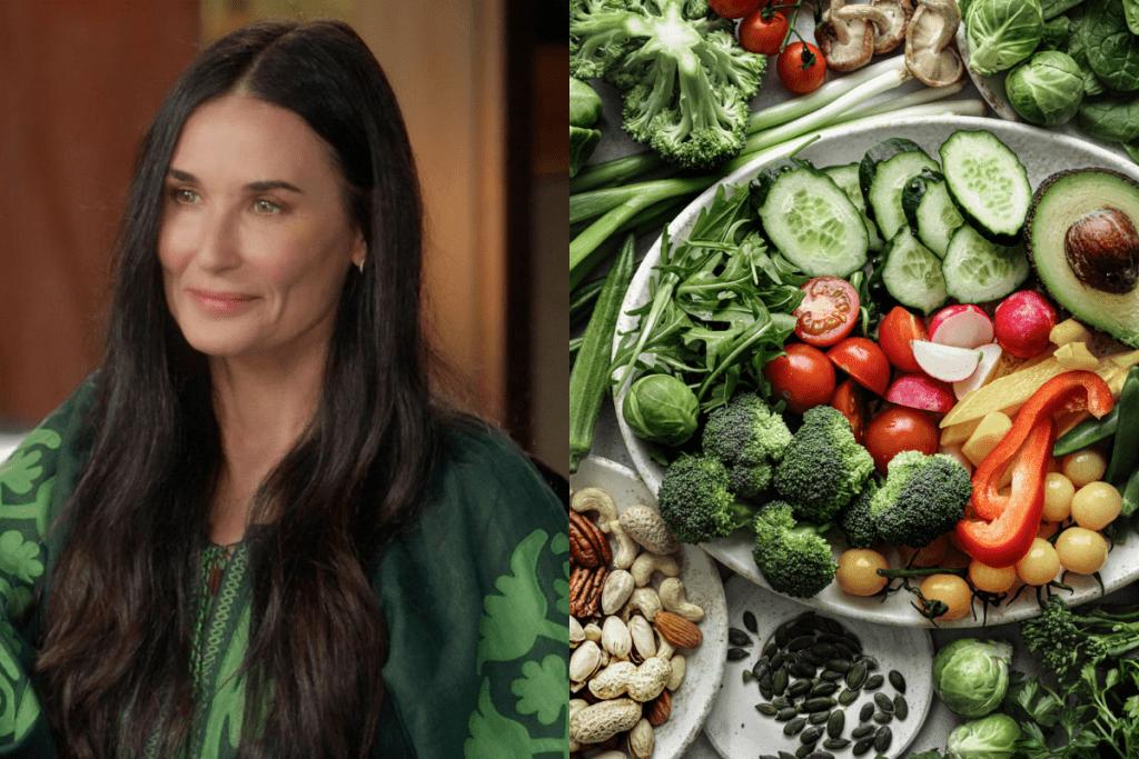 A Demi Moore é uma das pioneiras da dieta raw vegan, para emagrecer mais de 10kg.