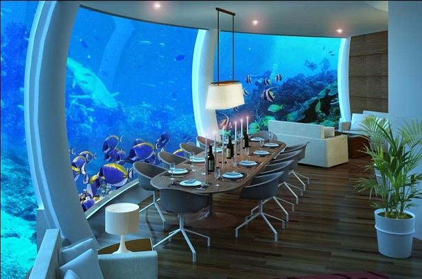 Um dos hotéis em baixo do mar, o Poseidon Undersea possui uma visão previlegiada do oceano.