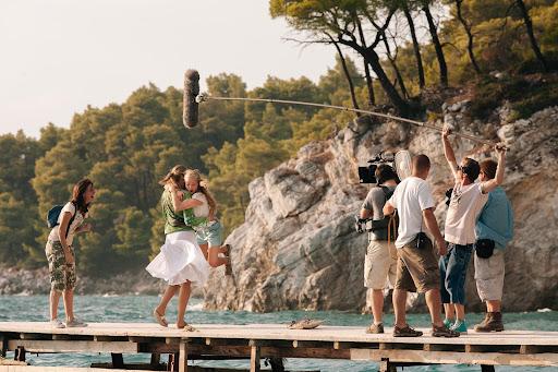 Gravações de Mamma Mia! na Grécia.