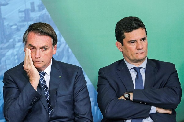 Bolsonaro e o ex-ministro da Justiça Sérgio Moro.