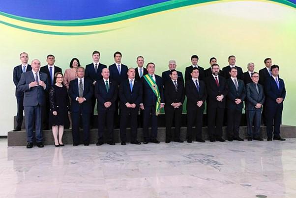 Jair Bolsonaro e seus ministros.