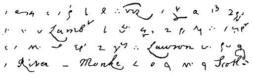 Escritas do diário de Samuel Pepys, em taquigrafia.