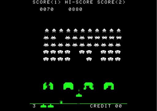 Space Invaders, um clássico dos fliperamas.
