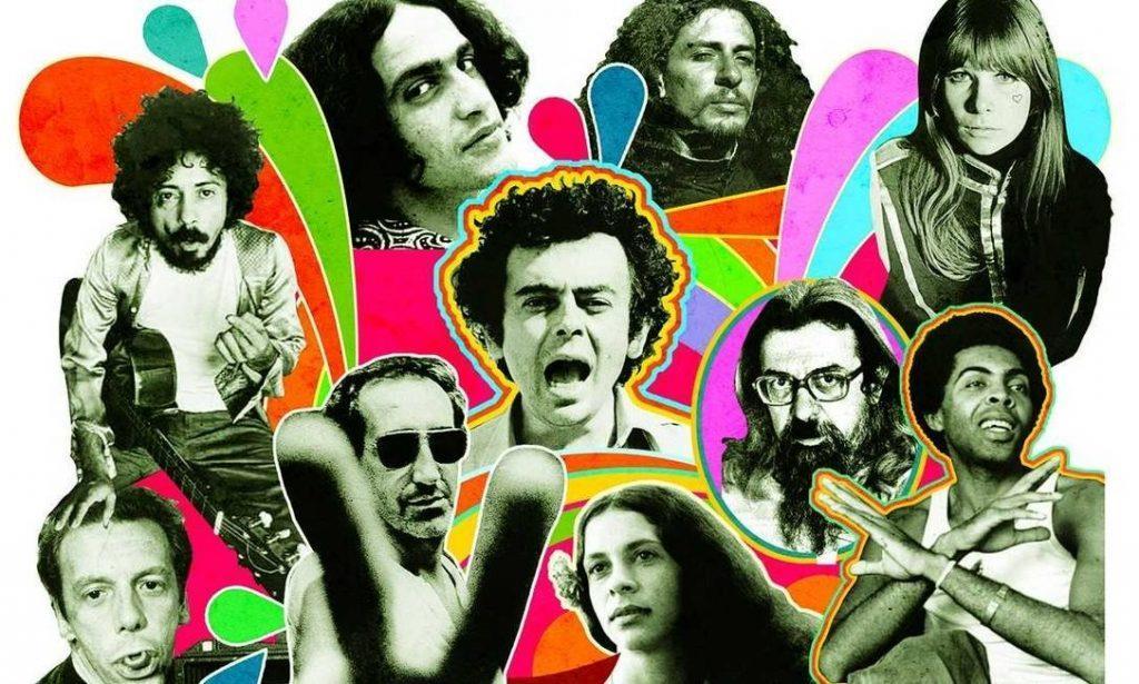 O tropicalismo, liderado por Caetano Veloso e Gilberto Gil, marcou a sociedade dos anos 60.