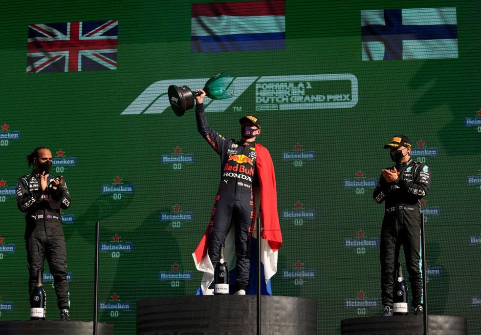 O pódio do GP da Holanda deste domingo.