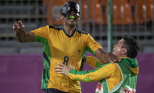 Nonato, do Futebol de 5, nos Jogos Paralímpicos de Tóquio.