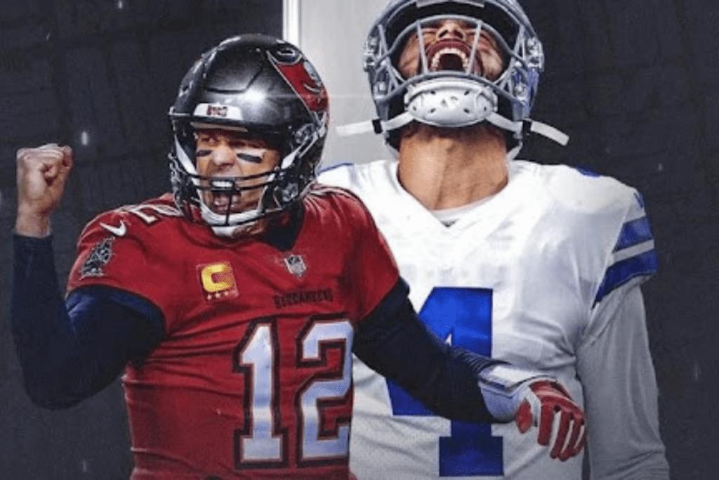 Tom Brady e Dak Prescott no primeiro jogo da NFL.