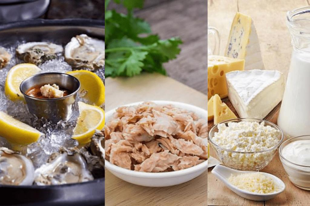 Alguns alimentos como as ostras, atum e laticínios são ricos em Vitamina B12.
