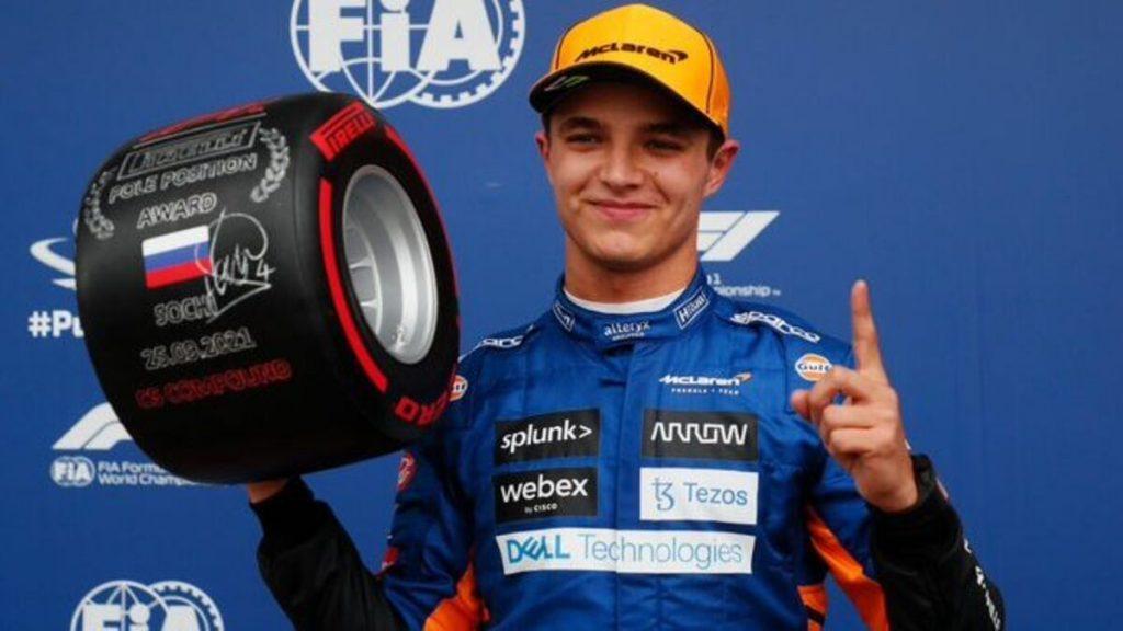 Lando Norris conseguiu sua primeira pole position na Fórmula 1 no GP da Rússia.