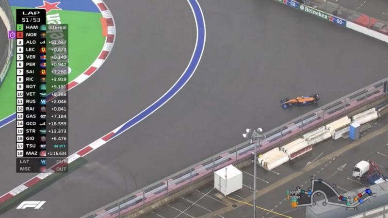 O momento em que Norris roda e Hamilton assume a ponta.