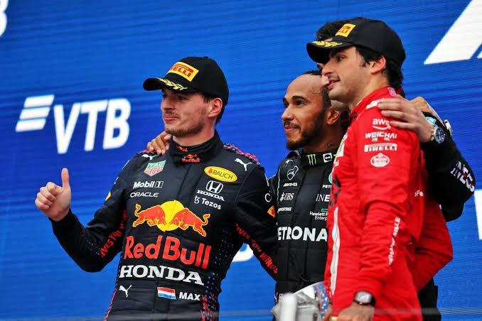 O pódio do GP da Rússia.