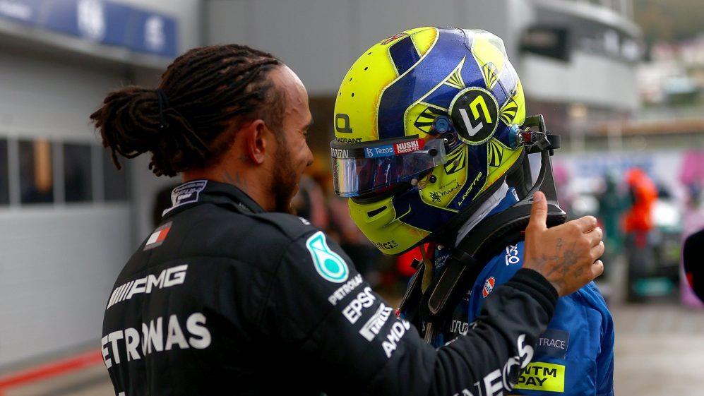 Lando Norris e Lewis Hamilton.