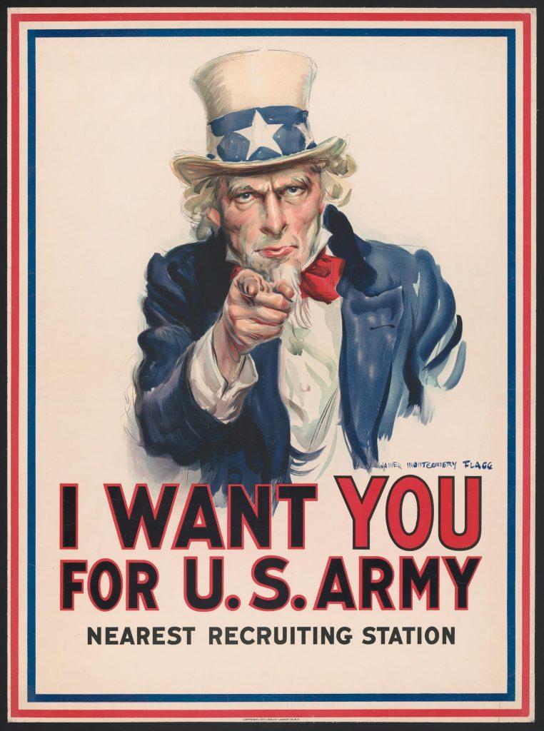 Pôster chamando os jovens dos Estados Unidos ao alistamento militar na Primeira Guerra.