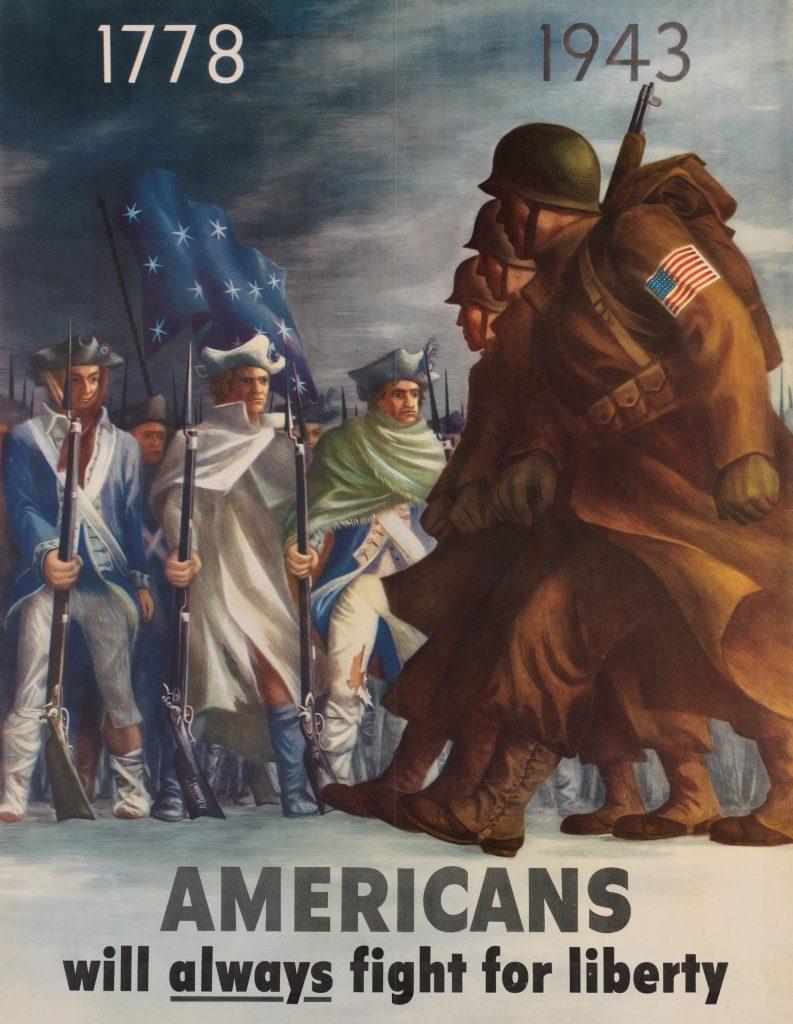 Cartaz sobre a entrada dos EUA na Segunda Guerra.