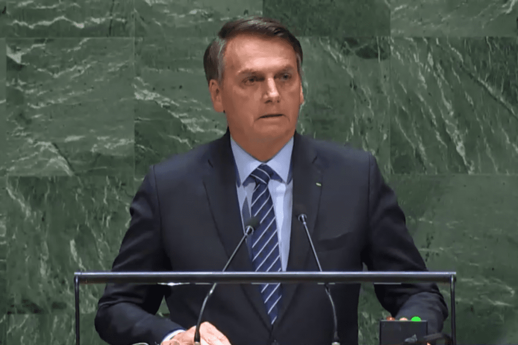 Jair Bolsonaro (sem partido) em discurso na ONU em 2019.