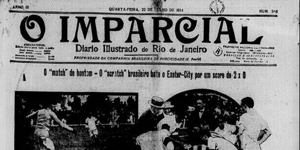 """Jornal """"O Imparcial"""" falando sobre vitória da Seleção Brasileira sobre o Exeter City F.C."""