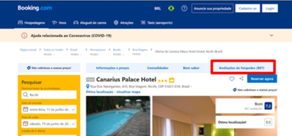Layout do site Booking.com.