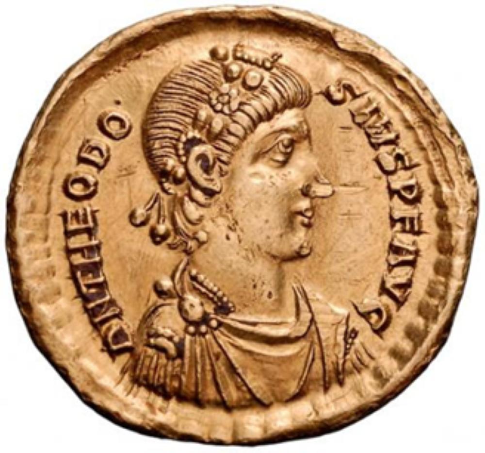 moeda feita em homenagem a Teodósio I, na Roma Antiga.