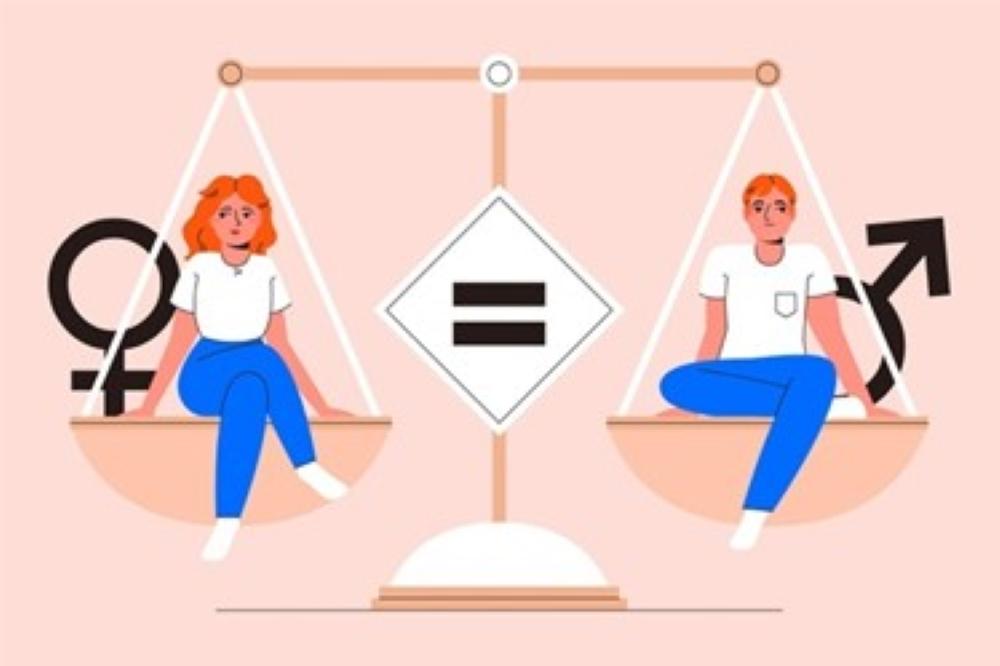 Homem e mulher representando a ideia de igualdade de gênero.